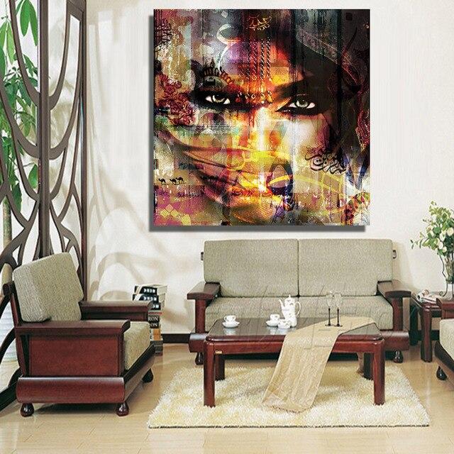 HDARTISAN Moderne portret schilderijen gezichten en woestijnen Wall ...
