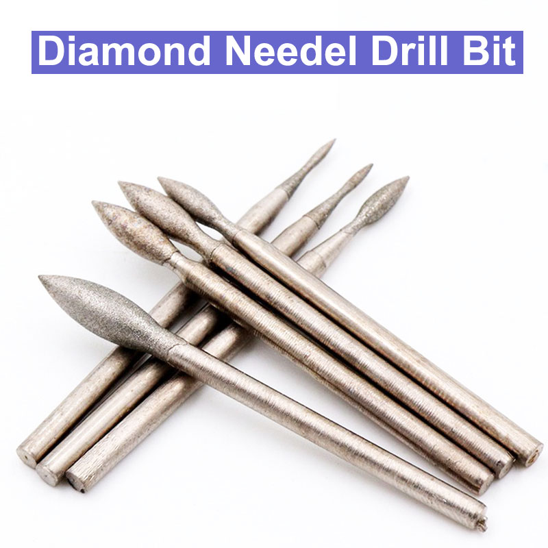 2.35mm J Diamond Needle Jade Peeled Polishing Grinding Head Diamond Grinding Head Bur Bit Set Grinding Tool For Dremel Rotary