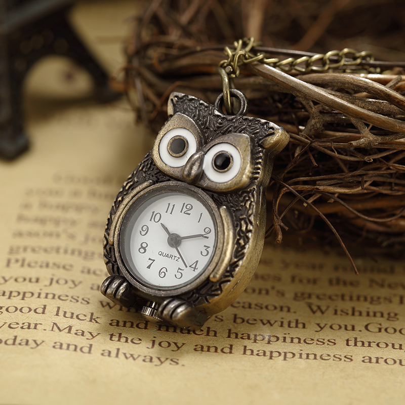 Top venta Owl Pattern reloj de bolsillo para hombres mujeres Luxury - Relojes de bolsillo