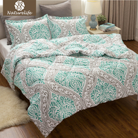 Naturelife Flower Pattern Comforter Duvet Set 3 Pcs Classics Green Damask Design Down Alternative Comforter Edredom