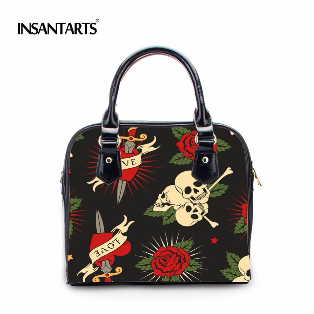 INSTANTARTS Vintage Skull Handbags Women High Quality Leather Shoulder Tote Bag Designer Female Casual Messenger Bags for Ladies hisuely 2017 vintage skull shoulder bags women bucket pu leather with silk female black handbags ladies casual chain tote bag