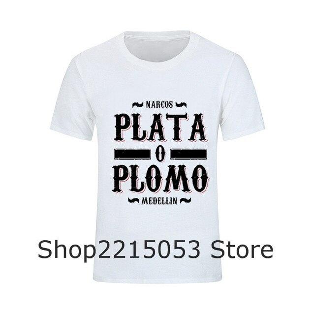 Plata o Plomo Mens T-Shirt Narcos Pablo Escobar Camisetas de Los Hombres  Camisetas Camiseta 71e087ca01b