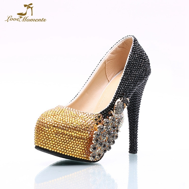 Us 6082 21 Offgorgeous Phoenix Evening Party Shoes Black And Gold Mix Color Wedding  Party Shoes 1a2ff0fce8fb