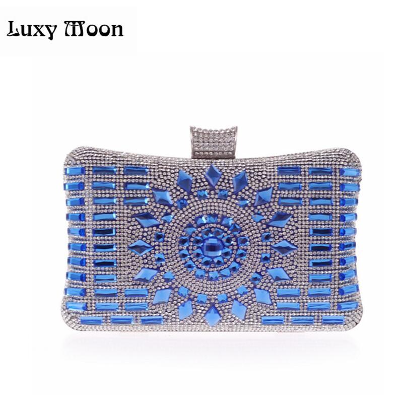Luxy Moon glass diamond silver evening bags top quality gold clutch bag elegant blue bag party wedding bridal purse w641