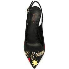 Frauen Schwarz Stoff Punkt Toe Appliques Glitter High Heels Pumps Schuhe für Frau, plus größe 5-14, hochzeit & Party & abend