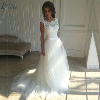 ZL1011 New Vintage Elegant A-Line Soft Lace Tulle Beach Boho Wedding Dress Bridal Gown Celebrity vestido De Noiva robe de mariee