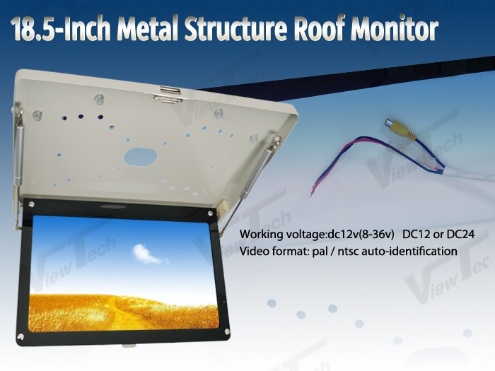 18.5 Metal Frame Roof Mount Bus Monitor 16:9 Wide LCD Screen HD Video Input  / View Angle Strong Structure