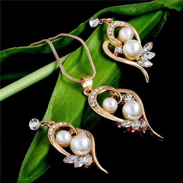 זהב צבע שרשרת עגילי תכשיטי סט מים בגלילה סימולציה פרל פרחי קריסטל תליון חתונה כלה תכשיטי סטים