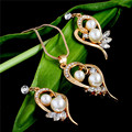 Gold Plated Necklace Earrings Jewelry Set Water Drop Simulated Pearl Flowers Crystal Pendant Wedding Bridal Jewelry Sets