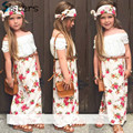 2017 Summer Girls Clothing Set T shirt + dress + scarf 3pcs / set floral collar lace suit children clothes flower Headband