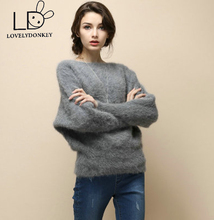 LOVELYDONKEYNew real sweater girls cashmere pullovers knitted pure mink jacket free shippingM488