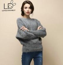 LOVELYDONKEYNew genuine sweater women cashmere pullovers knitted pure mink jacket free shippingM488