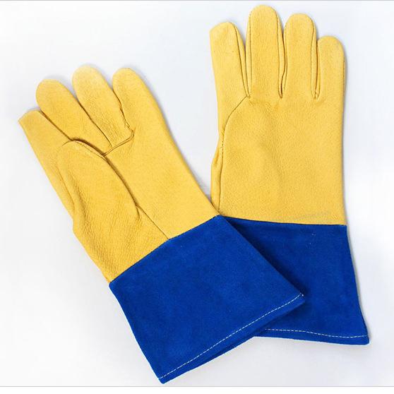 Couro rachado da vaca Luvas de trabalho de Segurança mecânico guantes trabajo industrial anti-corte luvas de soldadura de couro protetora