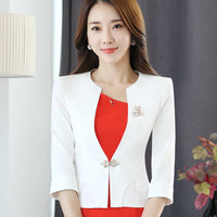 HanOrange Single Button Office Lady Plus Size OL Traditional Classical Half Sleeve Female Women Blazer Jacket White/Red S XXXXL