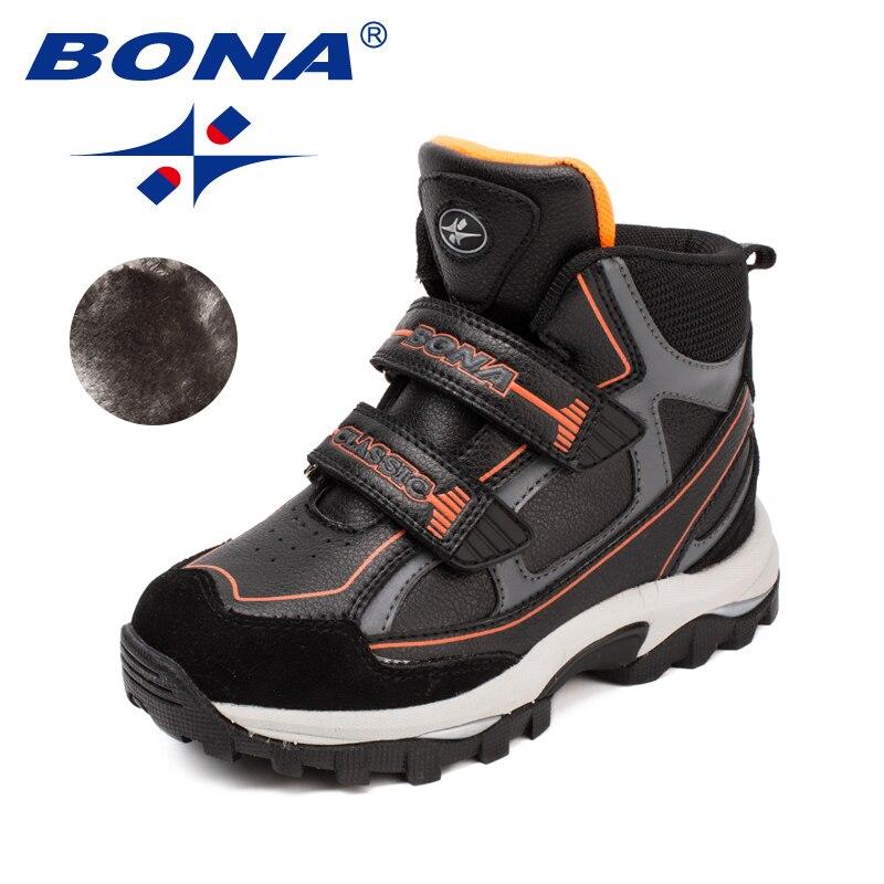 Bona Новая Классика Стиль Детские ботинки Кружево до Обувь для девочек Ботильоны химическое Обувь для мальчиков зимняя обувь удобные легкие ...