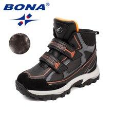 BONA/Новая Классика Стиль детей сапоги и ботинки для девочек кружево до обувь ботильоны синтетический мальчиков зимняя об