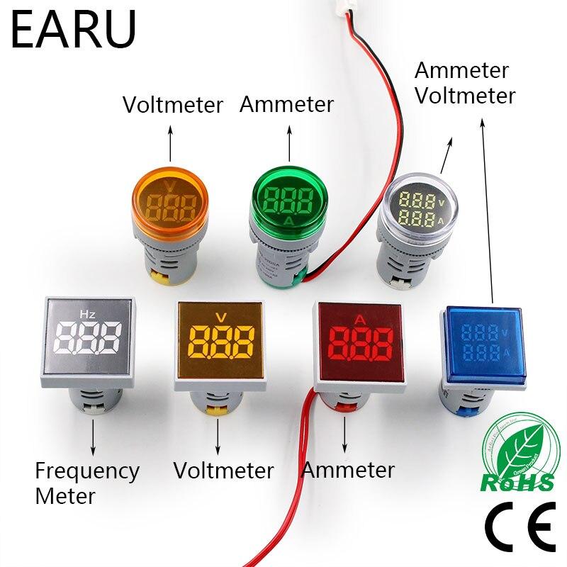 Digital 22mm AC 12-500V Volt 0-100A 20-75HZ Voltmeter Ammeter Amp Current Hertz HZ Voltage Meter LED Indicator Lamp Pilot Light