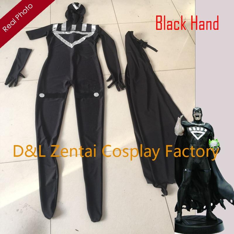Freies Verschiffen Dhl Erwachsene Lycra Schwarz Laterne Schwarz Hand Kostüm One Sleeve Halloween Superheld-kostüm Bl0129 Volumen Groß