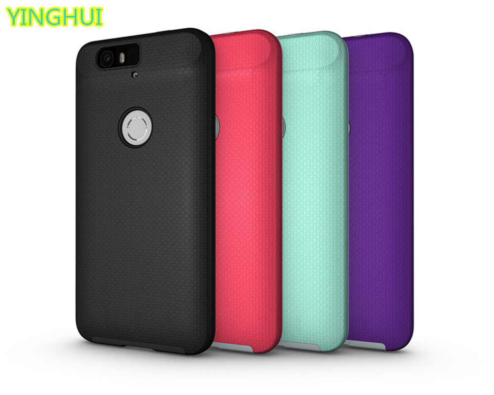 For Google Nexus 6P Cases Anti-slip armor PC + TPU Shockproof Back Case For Huawei Nexus 6P Covers Silicone Case