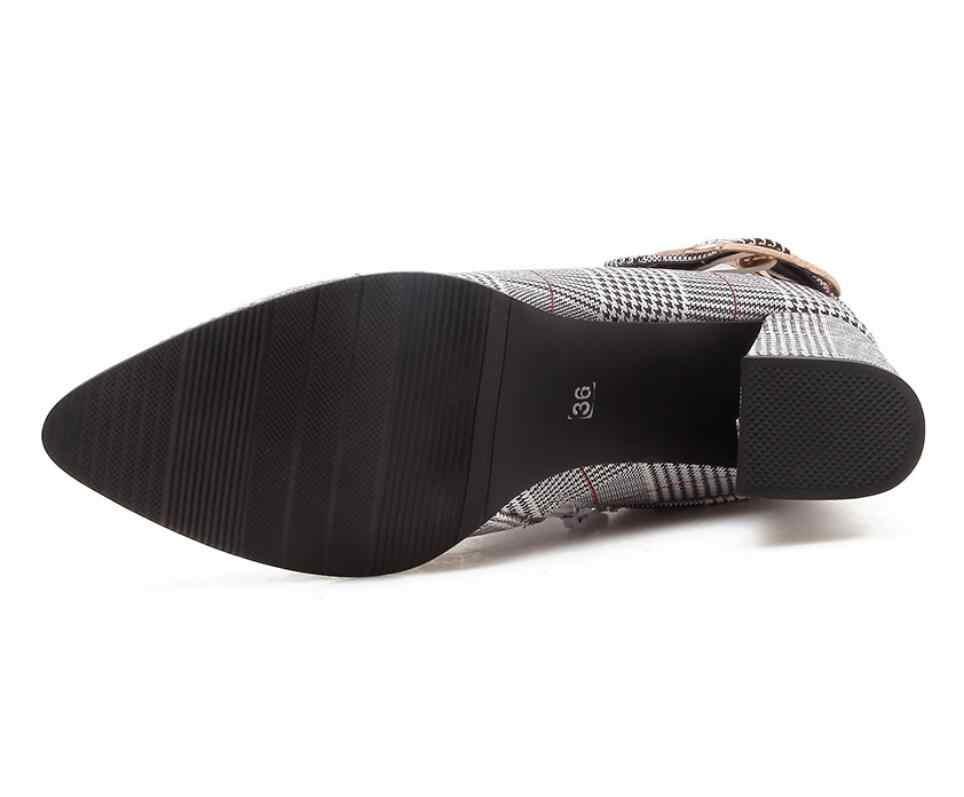 2019 Büyük Boy Kadın Botları Moda Ekose Sivri Burun Yüksek Topuklu kadın ayakkabısı Seksi Sonbahar Kış bota yarım çizmeler talon kadın