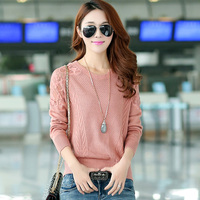 Women Pullovers And Sweaters 2017 Spring Autumn Long Sleeve O Neck Lace Flower Knitted Sweater Loose
