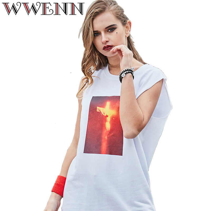Summer Sleeveless Top Women Cotton Tank Tops Punk Cropped Style Print Jesus Couples Cross Virgin Vest camisole femme