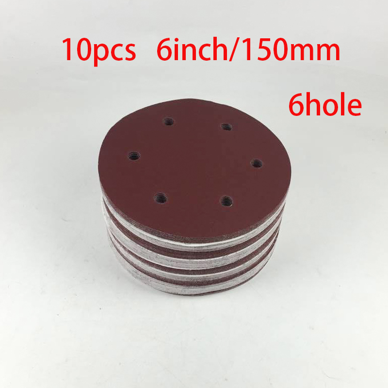 High Quality 10PCS 150mm  6 Inch Sander Sandpaper Hook & Loop Abrasive Sanding Paper Disc Grits 60 80 120 180 240 -2000 NEW