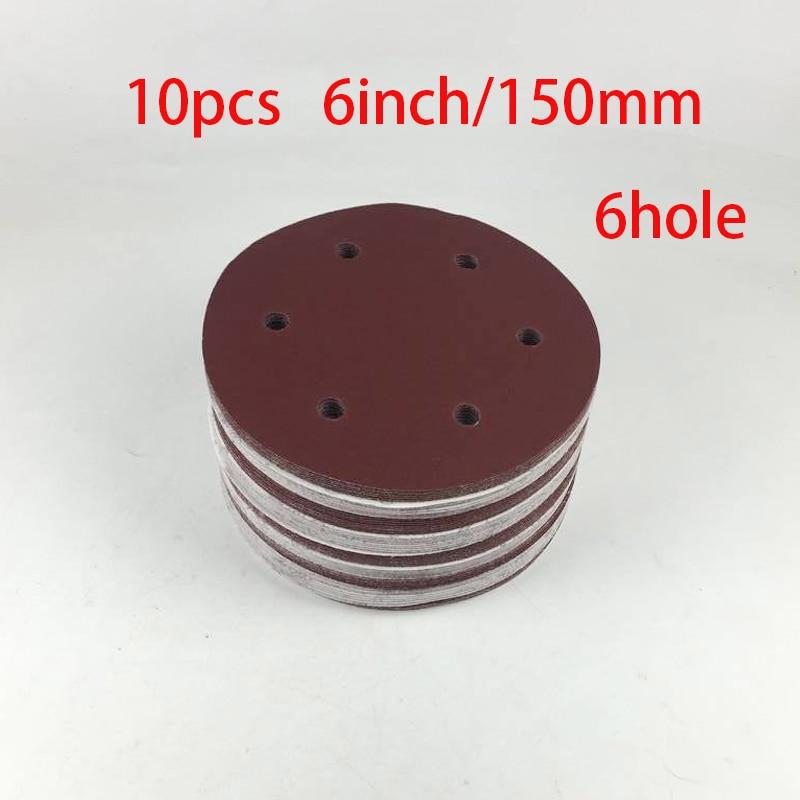 High Quality 10PCS 150mm  6 Inch Sander Sandpaper Hook & Loop Abrasive Sanding Paper Disc Grits 60 80 120 180 240 -2000 NEW