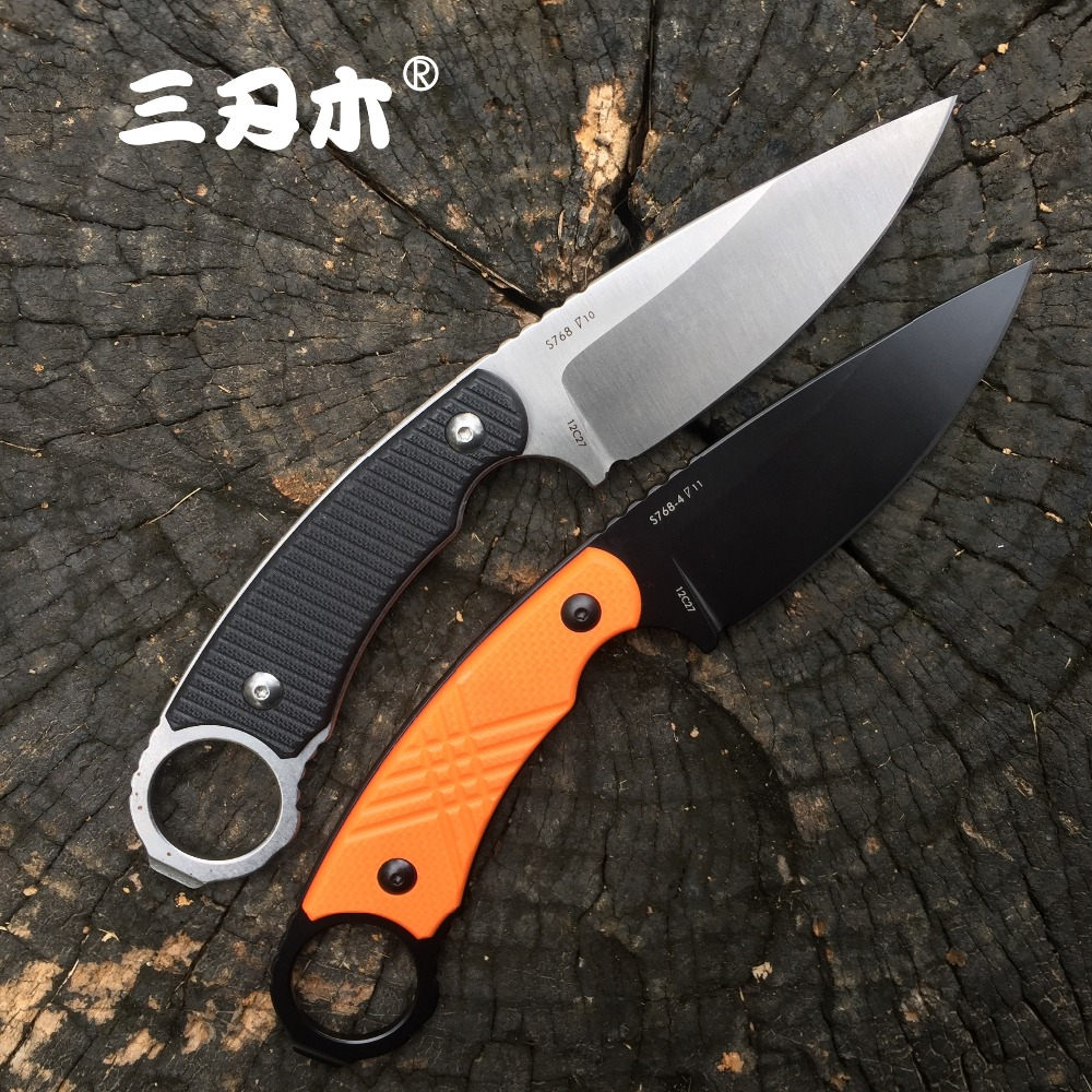 Sanrenmu S768 Fixed Blade Knife 12C27 Blade Camping Hunting Tactical bushcraft Outdoor Survival Utility Fishing EDC Tool Knives image