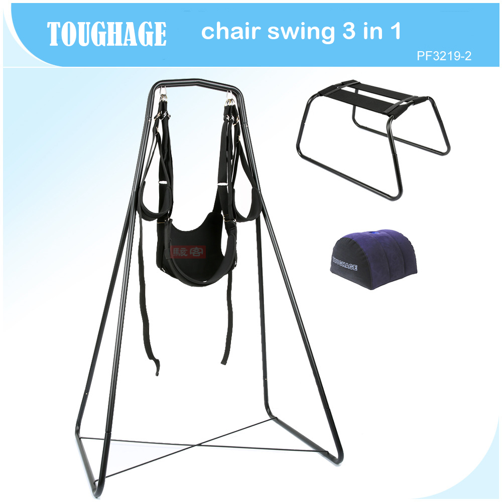 TOUGHAGE 3 in 1 furniture sex swing +chair+sex pillow adjustable bondage set adult sex swing a frame adult couples games sex swing chairs sex toys for couples flirting bondage adult sex furniture straps swing restraint adjustable
