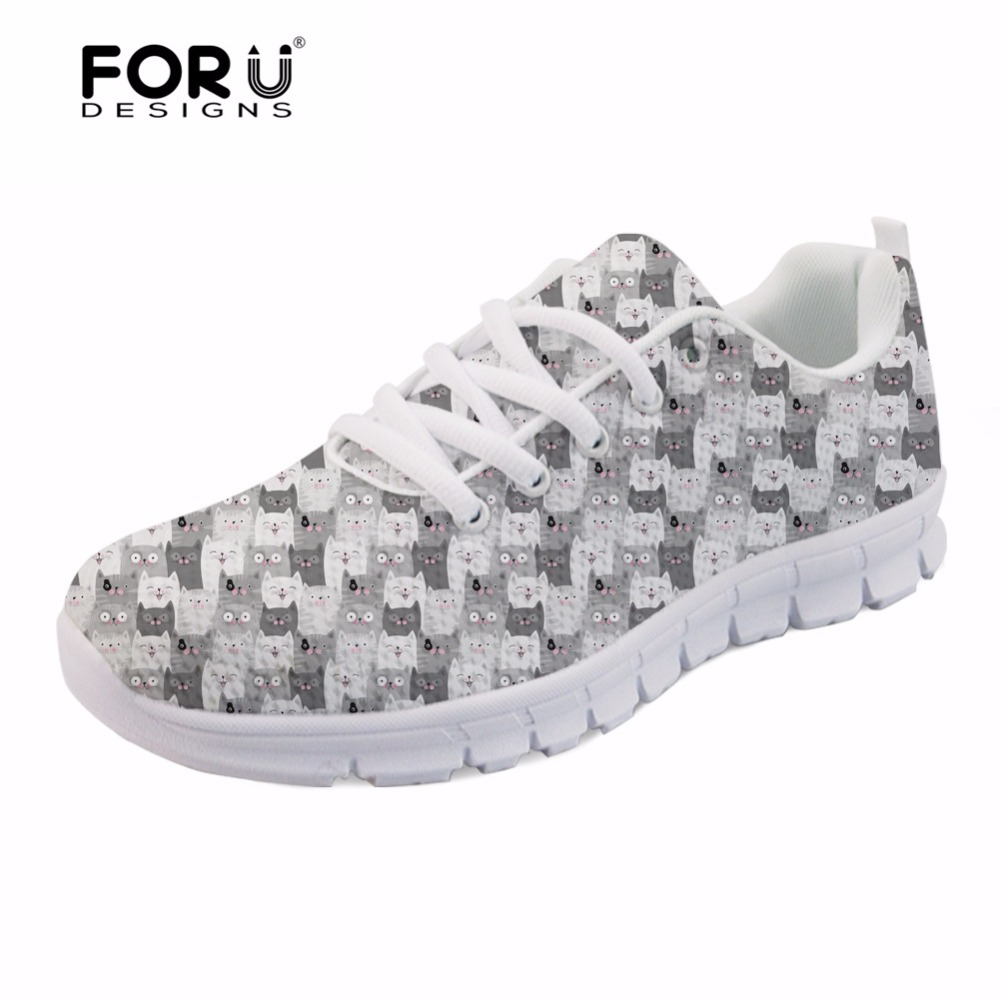 FORUDESIGNS Cute Cartoon Cat Print Casual Women Sneakers Flats Fashion Womens Breathable Mesh Shoes Woman Leisure Lady Zapatos