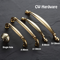 CW Hardware 2pcs 6098 Kitchen Zinc Alloy Cabinet Knobs And Pulls 96 128 160mm Gold Handles For Furniture