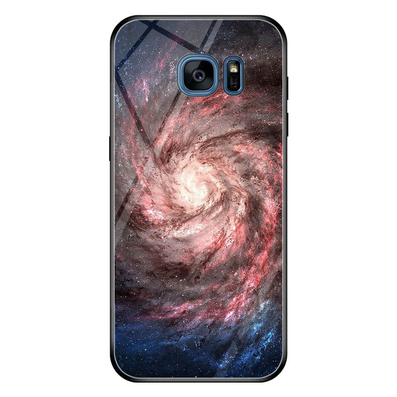 For Samsung Galaxy S7edge Starry Moon Landscape Tempered glass phone case For Samsung Galaxy S7edge Mobile phone bag starry sky in Half wrapped Cases from Cellphones Telecommunications