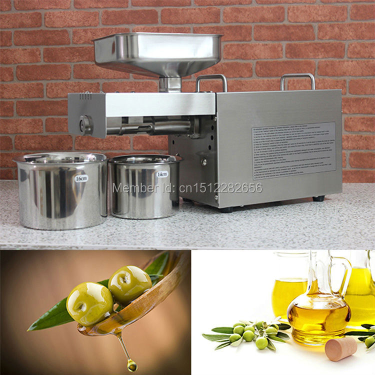 Stainless steel automatic small seed oil extraction machine, cold oil press, oil expeller, mini oil press machine for home home use 110v or 220v seed oil press machine nut seed automatic stainless all steel presser high oil extraction