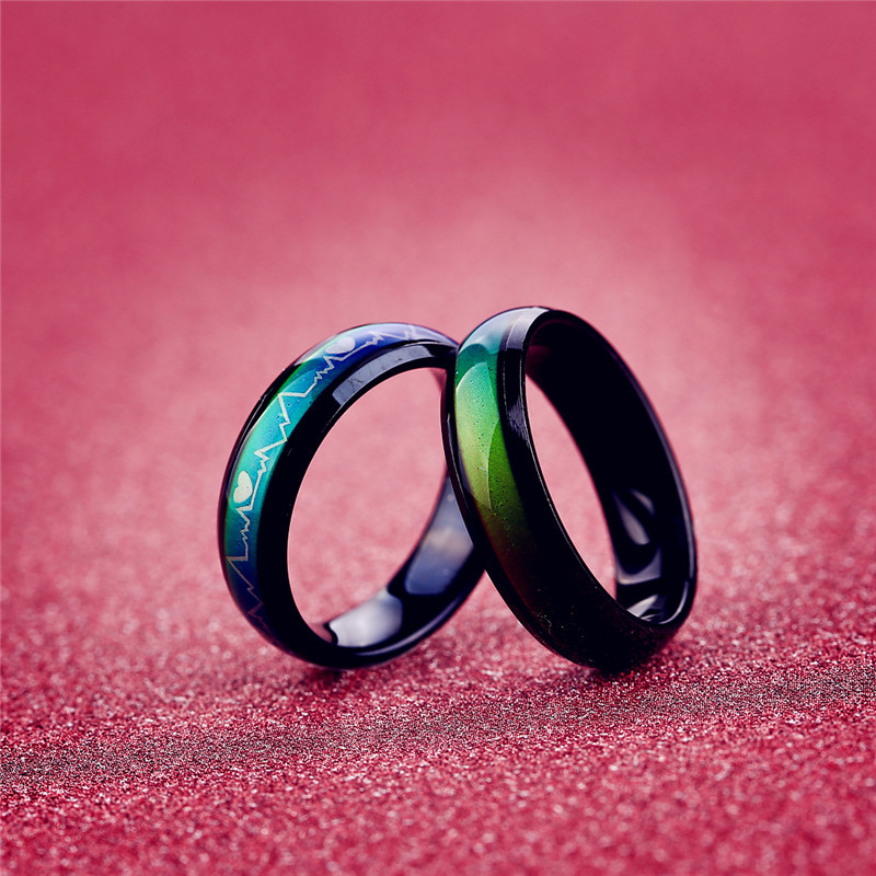 aiboduo Fashion Simple Stainless Steel Rings Women Men Discoloration Wedding Bands Trendy Rainbow Rings Party Gift R00004 in Rings from Jewelry Accessories