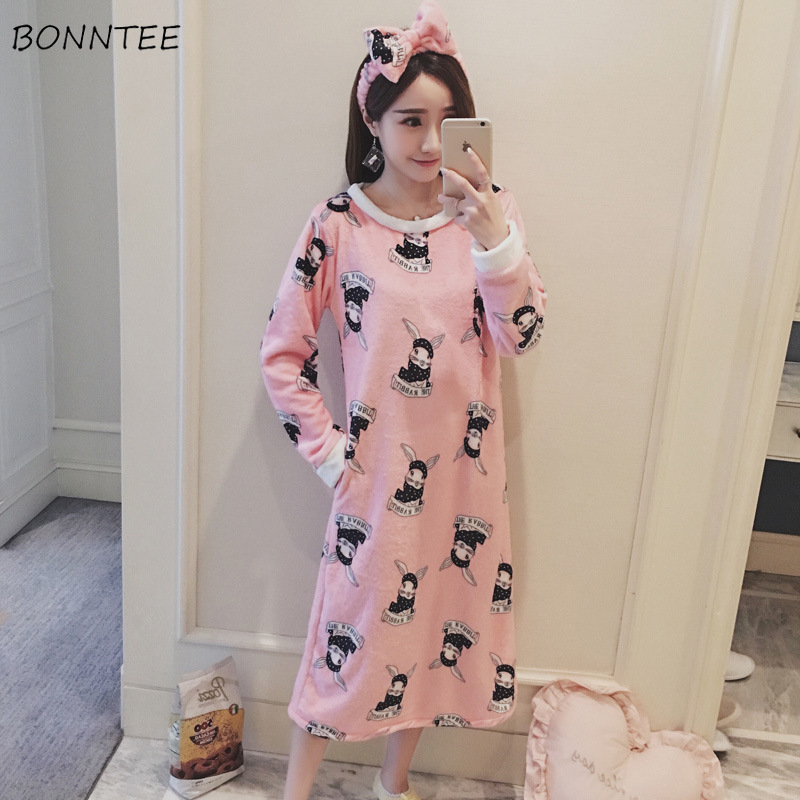 2389479973 Detail Feedback Questions about Nightgowns Winter Cartoon Printed Kawaii  Women Warm Flannel Nightdress Lovely Soft Long Sleeve Chic Womens Sleepwear  Sweet ...