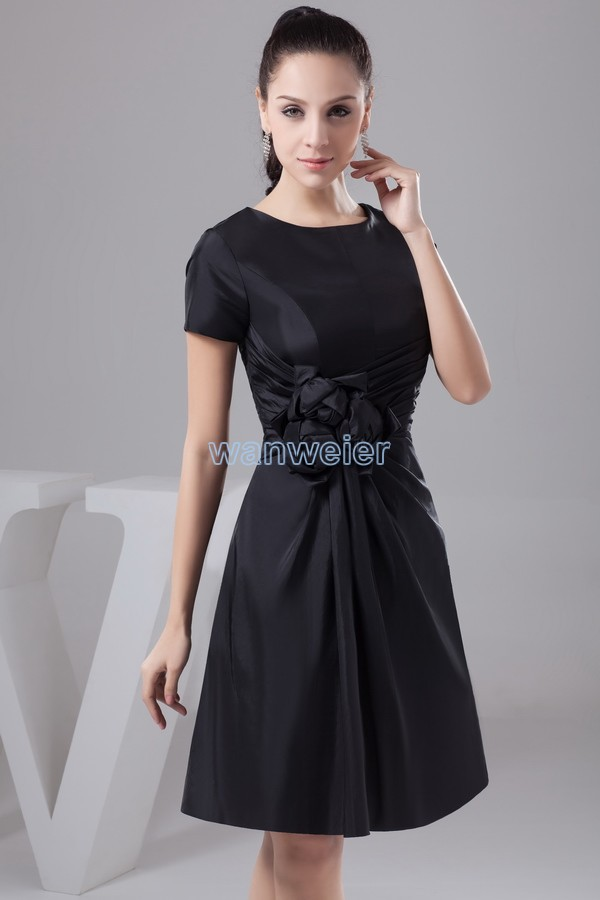 free shipping 2014 new design hot gown good quality custom size/color short sleeve cap sleeve black Mother of the Bride Dresses