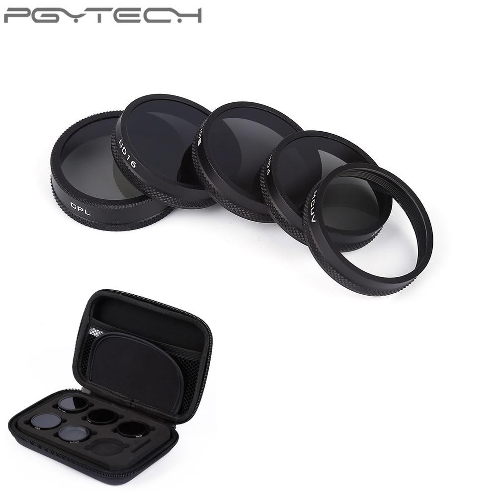 все цены на 5pcs/set PGYTECH Lens Filters G-HD-MCUV ND4 ND8 ND16 CPL HD Filter for DJI Phantom 4/3 Drone With Storage Bag