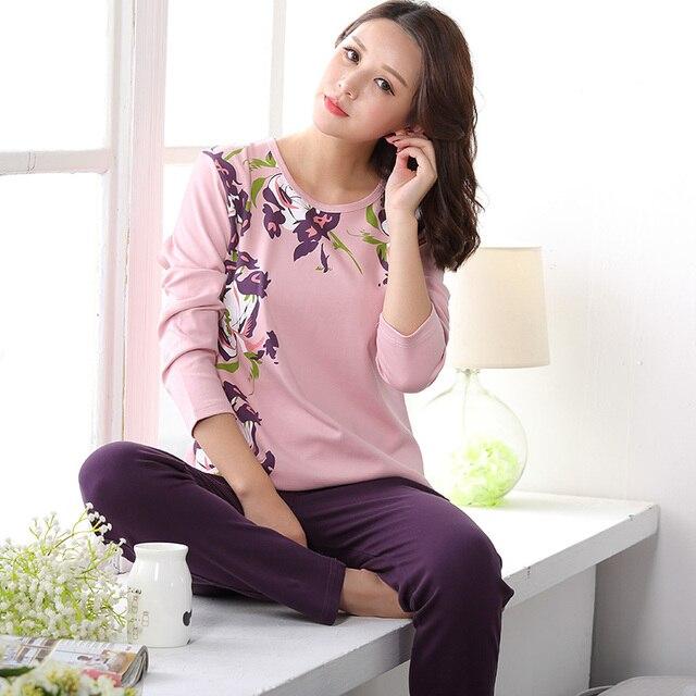 797a1c982a45 Brand Autumn 100% Cotton Pajama Sets Elegant Women Pijamas Pajama ...