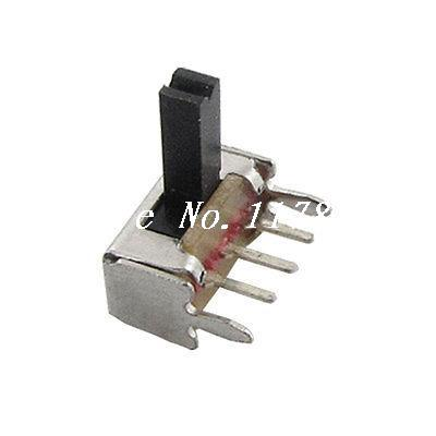 10 Pcs x 2 Position 1P2T SPDT PCB Mount Miniature Slide Switch Right Angle 3 Pin ac 250v 2a on on 2 way 1p2t spdt solder 3 terminals pcb mount toggle switch
