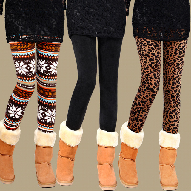Free Shipping Hot Selling snowflake Christmas leggings leg thick warm winter trousers girls slim fit pencil pants sales legging