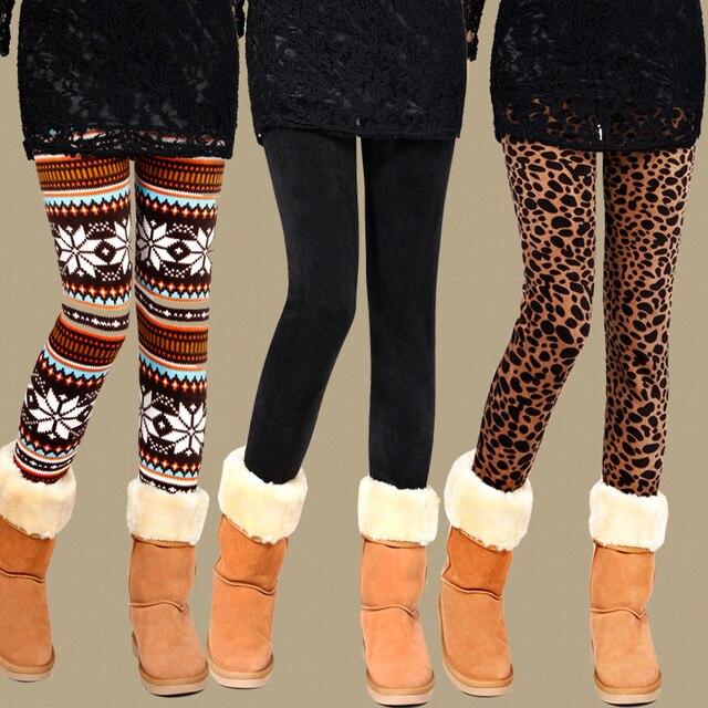O Envio gratuito de Venda Quente do floco de neve de Natal perna leggings grossas de inverno quente calças meninas slim fit lápis calças legging de vendas