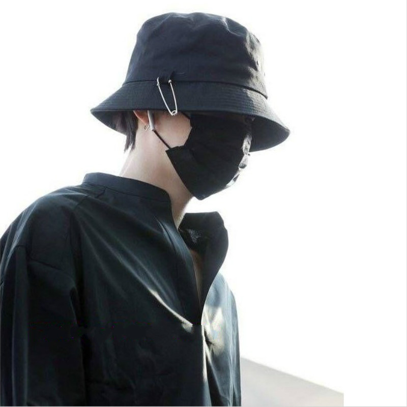 2018 BTS SUGA Fashion KPOP Iron Ring Bucket Hats popular style cap 100%  handmade Iron rings big pin panama caps-in Bucket Hats from Apparel  Accessories on ... 8c70fdf8370