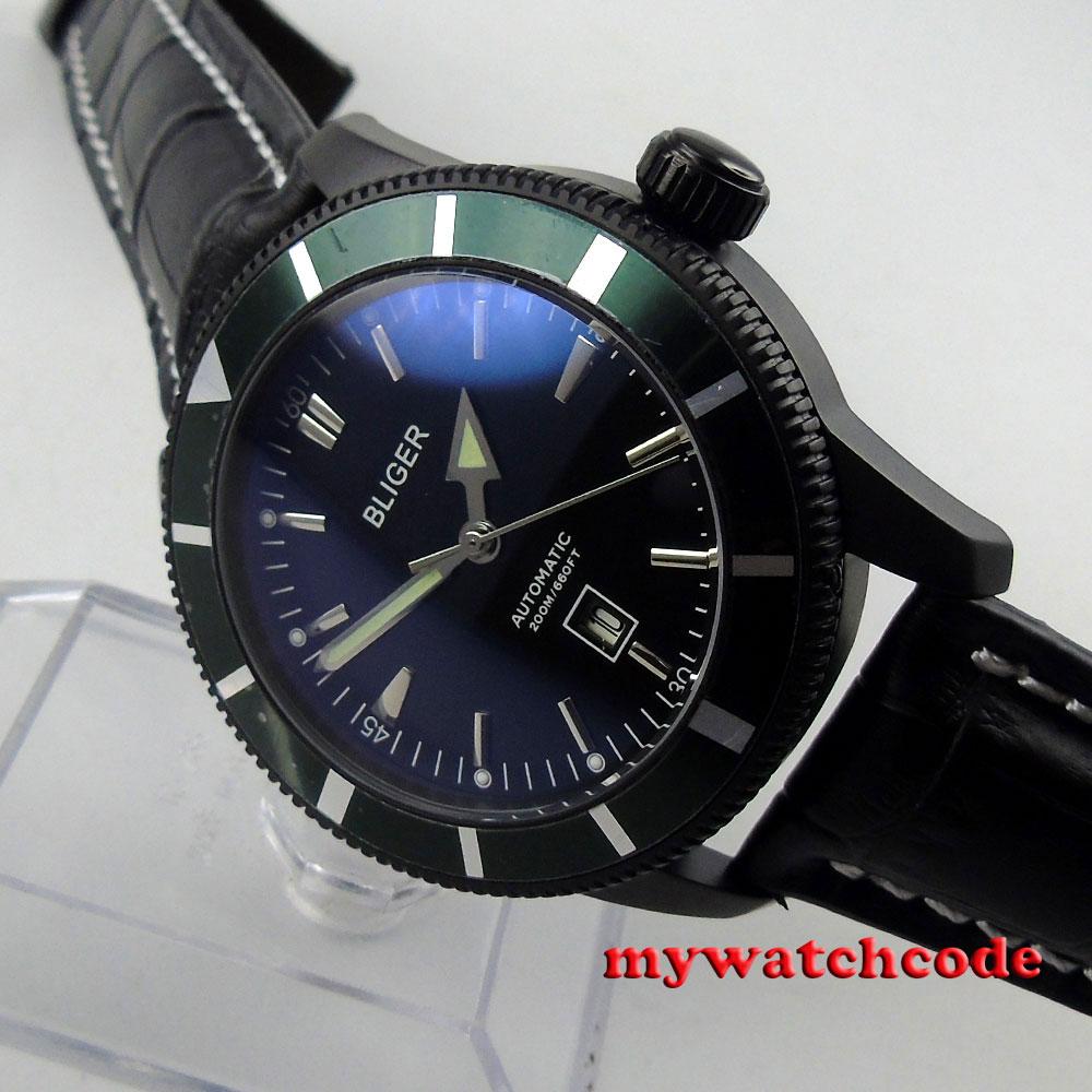 46mm bliger black dial PVD case deployment clasp automatic mens watch B120 razor b120