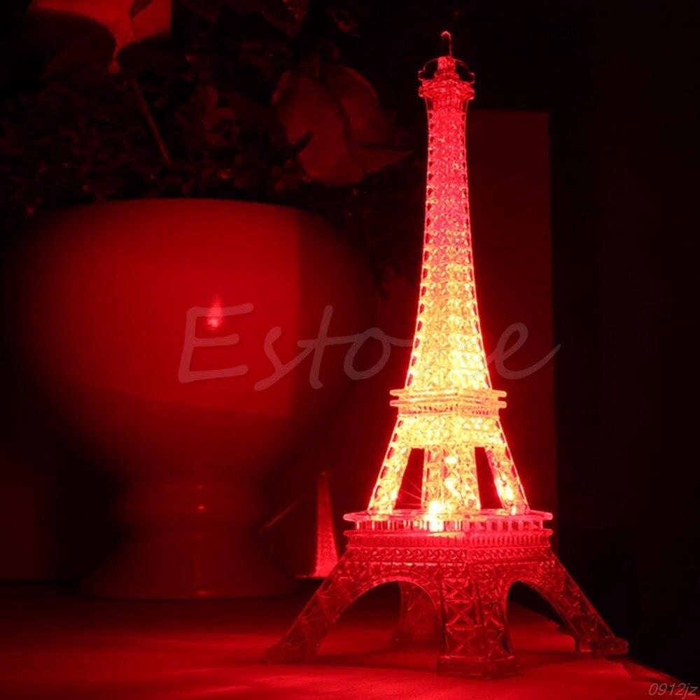 1Pc Lovely Eiffel Tower Night Light Luminaria Cute LED Art Deco Lamp Desk Bedroom Decor Small Luminaria Mesa Lighting #C93U#