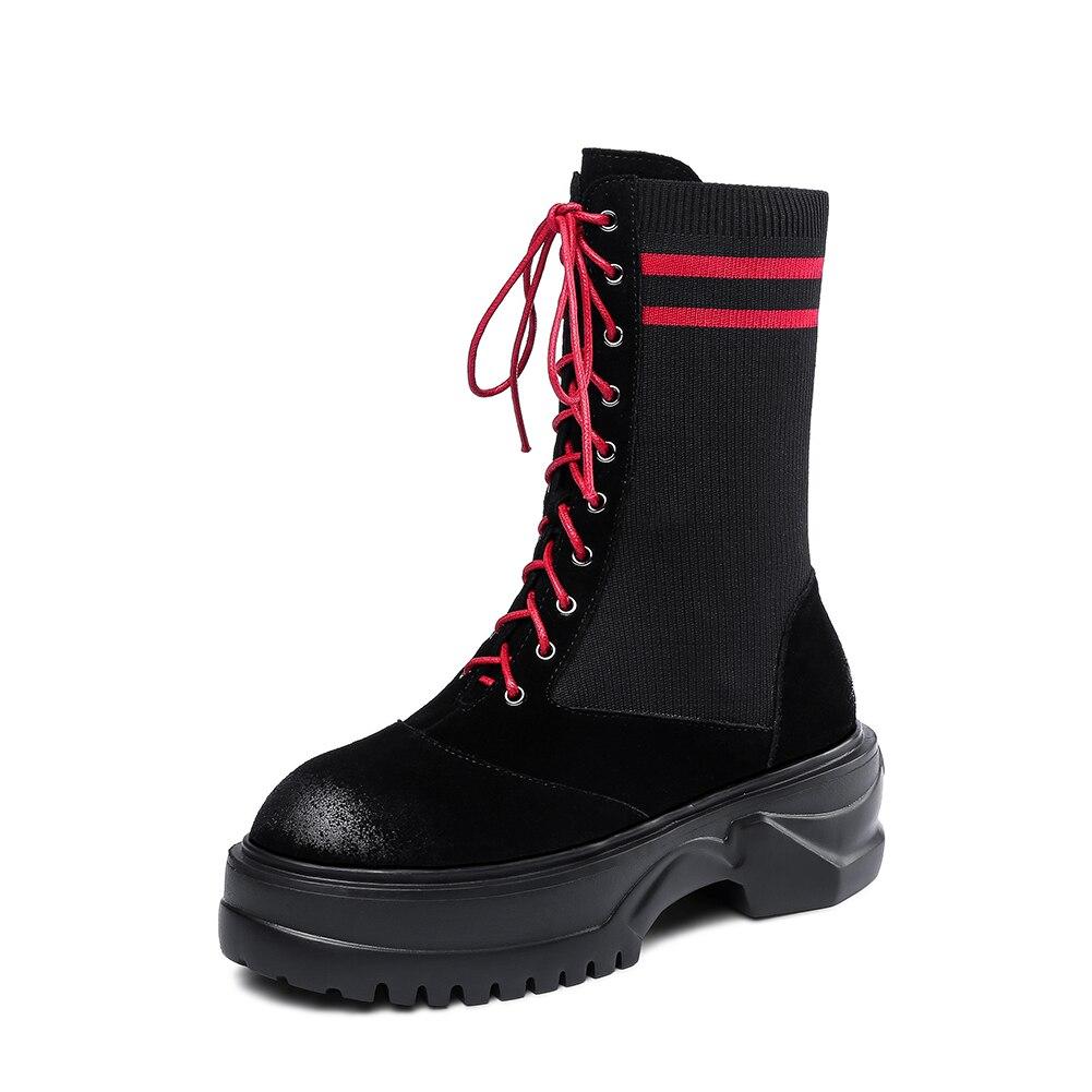 Wildleder Frau weiß Freizeit Sarairis Schuhe Neuheiten Mode Kuh Stricken Rot Straße Frauen Großhandel Boden Stiefel Stil Dicken v1wawtP