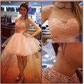 Vestidos de festa vestido de Baile vestido de formatura do ensino médio meninas Frisado Halter Vestido de Formatura 2016 Curto do Regresso A Casa do baile de Finalistas do Vestido