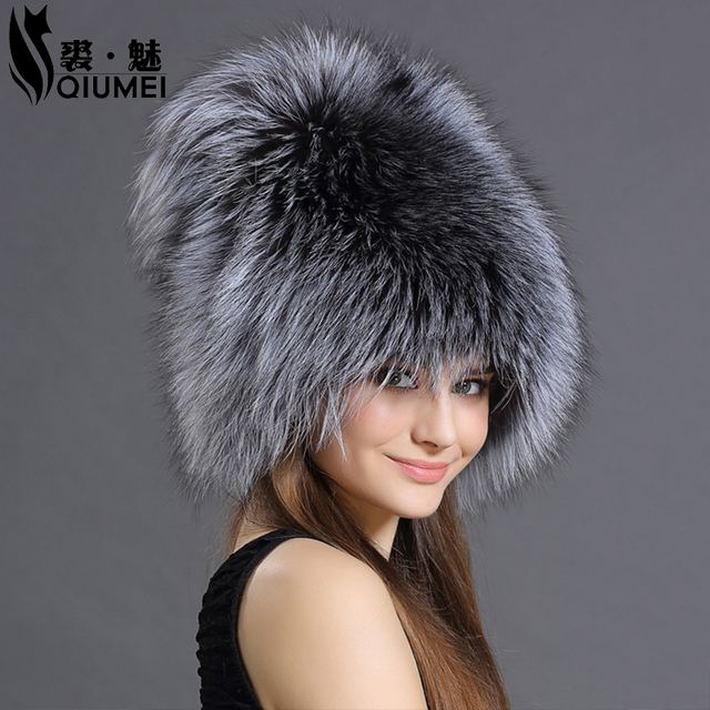 QiuMei Bomber Hats Fur Women Real Fox Animals Fluffy Fur Pompom Hat Cap Style Solid New Russian Ushanka Women's Winter Hats Caps
