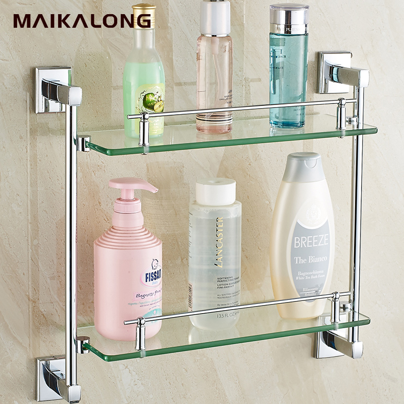 Square design double bathroom shelves glass shelf chrome - Bathroom accessories glass shelf ...