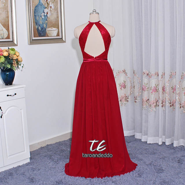 2ebd27e6fb placeholder Open-Back Lace and Chiffon Front Slit Bridesmaid Dress F19608  Halter Neckline Long Wedding Party
